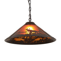 Rustic Ceiling Pendant Light Lodge Cabin Lighting Moose Wilderness Decor... - $76.26