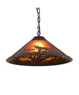 Rustic Ceiling Pendant Light Lodge Cabin Lighting Moose Wilderness Decor... - £58.87 GBP