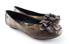 BORN Size 6.5 Pewter Silver Ballet Flats Shoes w/ Flower 6 1/2 - $44.00