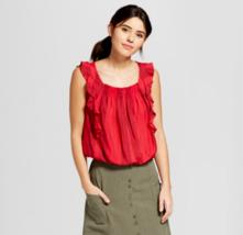 Women's Universal Thread Printed Sleeveless Ruffle Blouse Red Stripe Siz... - $6.92