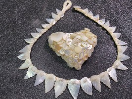VINTAGE Mother Of Pearl Handmade Art Nouveau Leaf Necklace & Heart Brooc... - $64.32
