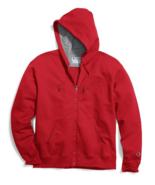 Champion Powerblend Red Full Zip Authentic Fleece Hoodie Sweatshirt Adul... - $39.59