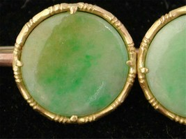 Antique Victorian jade Yellow rose Gold 9ct BROOCH - $338.45