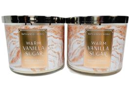 2 Bath & Body Works WARM VANILLA SUGAR 3-Wick 14.5oz Large Candles NEW F... - $44.54
