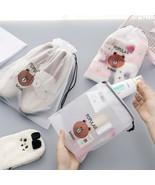Brown Bear Transparent Cosmetic Bag Travel Makeup Case Women Zipper Bath... - $1.89+