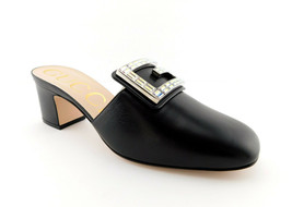 New Gucci Size 7.5 Madelyn Black Crystal Gg Mules Heels Shoes 38 Eur - $649.00