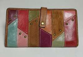 Fossil 70s Patchwork Multicolor Suede Leather Studded Wallet Clutch Brown - $25.99