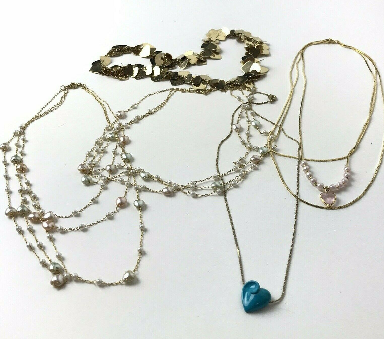 90s heart necklace lot of 5 vintage dainty small light weight necklaces
