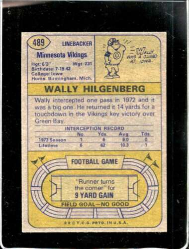 1974 TOPPS #489 WALLY HILGENBERG VGEX VIKINGS  *X2308