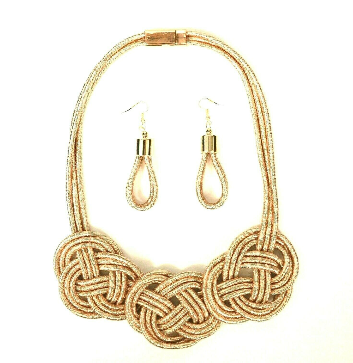 Primary image for STATEMENT BOHO CHUNKY COIL ROPE MULTI LAYER WEAVE NECKLACE EARRING SET PINK