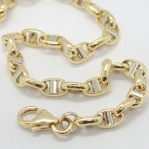 18K YELLOW WHITE GOLD 3.5 MM OVAL NAVY MARINER BRACELET 7.50 IN 19 CM ITALY MADE image 4
