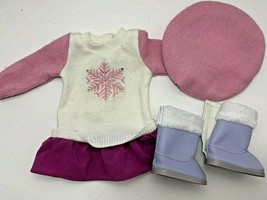 American Girl Soft as Snow boots Good to See You sweater dress outfit pink hat - $19.79