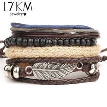 17KM® 4 pcs/set Fashion Eye Leather Bracelet Bangles For Women Wristband... - $5.12
