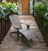Outdoor Wood Chair Lounger Adirondack Ottoman Seat Patio Porch Yard Gard... - $291.93