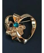 Estate Avon Signed Goldtone Open Heart w Ribbon & Aqua Blue Rhinestone V... - $12.19