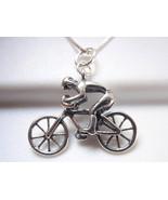 Bicycle Racer Pendant 925 Sterling Silver Corona Sun Jewelry racing bike... - $7.91