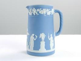 Wedgwood Pale Blue Jasperware 24oz Medium Trojan Jug White Interior Vint... - $49.00