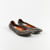 Lanvin Brown Patent Leather Ruched Ballet Flats SZ 39 - $160.00