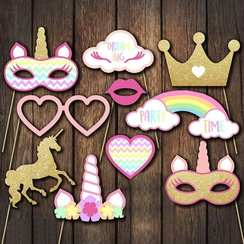Primary image for Wedding Decoration Unicorn Party Photo Booth Props HappyBirthday Party Cute Kids