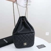 AUTHENTIC CHANEL QUILTED BLACK LAMBSKIN BACKPACK BAG GHW