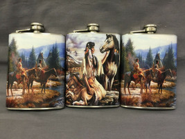 Set of 3 Horses Native Tribe Flasks 8oz Stainless Steel Hip Drinking Whi... - $17.38