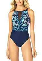 Swim Solutions Swimwear One-Piece Suit Blue Size 14 Mesh-Inset NEW PL681 - $65.25