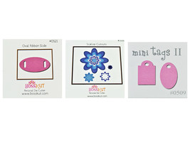 Bosskut Dies, Set of 3, Mini Tags II, Oval Ribbon Slide, Scallop Cutouts image 1