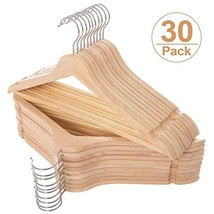 ELONG HOME Wooden Hangers 30 Pack, Slim Wood Suit Hangers with Extra Smo... - $53.85