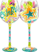 Celebrate Bling 22 oz Handpainted Wine Glass Lolita Stars Balloons Party... - $27.23