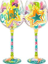 Celebrate Bling 22 oz Handpainted Wine Glass Lolita Stars Balloons Party... - $27.23