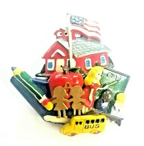 Vintage School Theme Brooch Pin Schoolhouse School Bus Teacher Apple US ... - $23.71