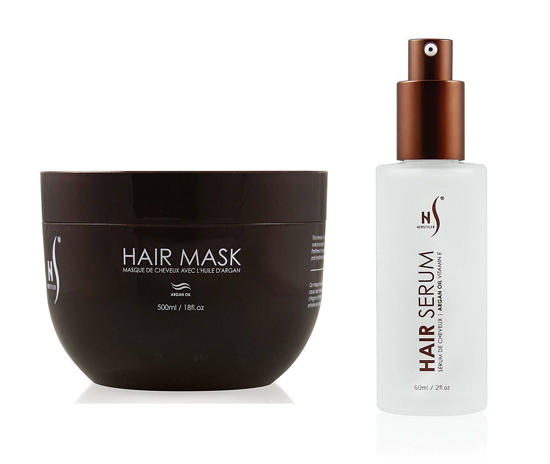 Herstyler Argan Oil Hair Serum and Mask Hair Care Set W/ Aloe Vera and Vitamin E - $30.06