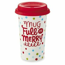 Christmas Mug Full of Merry Hallmark Coffee 16oz Travel Ceramic Silicone... - $9.79
