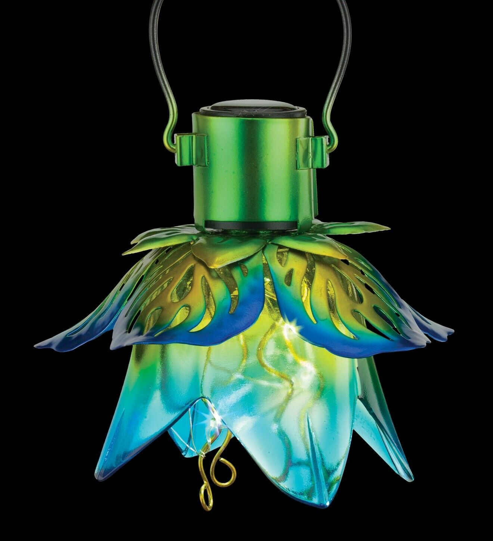 Blue Flower Hanging Solar Lantern