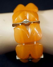 Lovely Mid Century Design Butterscotch Amber and Metal Bracelet - $59.99