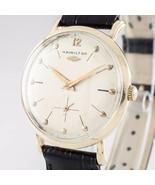 14k Gelbgold Hamilton Herren Automatik Uhr mit / Schwarz Lederband - $992.05