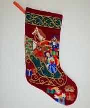 Vintage Needlepoint Christmas Stocking Beaded Santa Sleigh Toys Presents... - $67.72