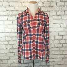Hollister Women's Red & Blue Plaid Classic Button Front Shirt Size Small - $16.19
