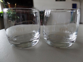 Embossed Logo s#20 Set of 2 Crown Royal Whiskey Heavy Bottom Glass Tumblers