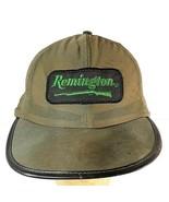 Vtg Remington Patch Thin Hunting Hat Snapback Cap Green Leather Brim Dis... - $29.95