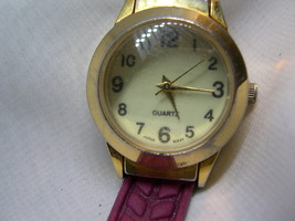 "L68, IB Ladies Watch, Domed Crystal Face, 7.5"" Burgandy Band (new) wb - $13.79"
