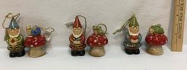Happy Garden Gnomes & Mushroom Bells Ceramic Decor Ronnie Walter Frog Snail - $9.36+