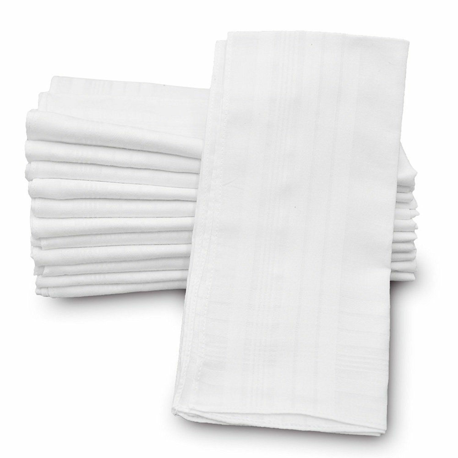 """Classic Mens Handkerchiefs 100% Cotton Solid White with Stripe 17"""" Large 12pc image 8"""