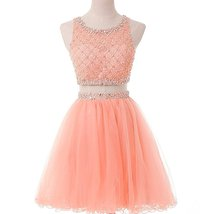 Short Two Piece Bateau Beaded Tulle Homecoming Dress Cocktail Gown Prom Dresses - $146.00