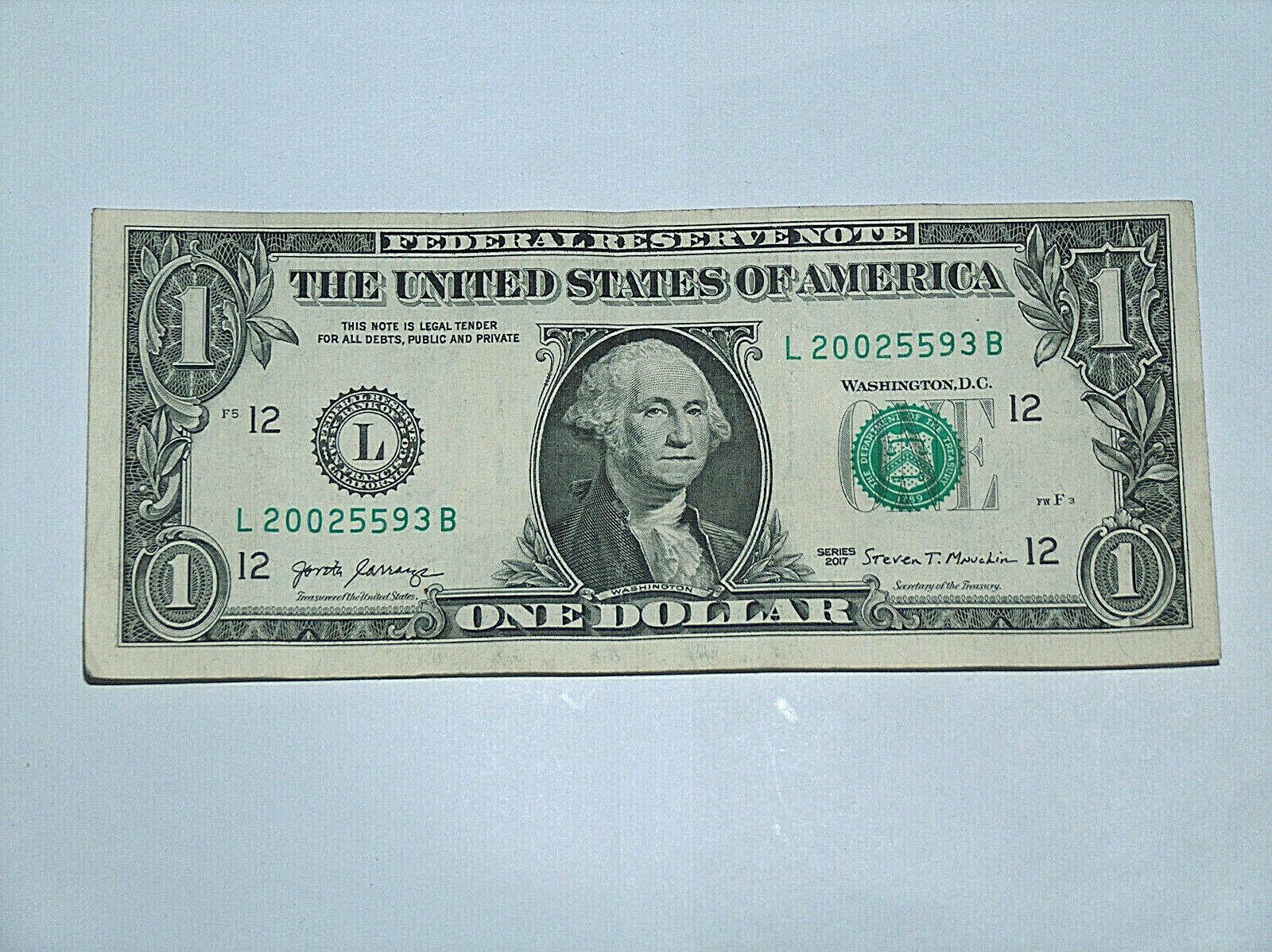 2017 $1 Dollar Bill US Bank Note Date Year Birthday 2002 5593 Fancy Money Serial