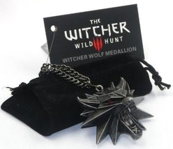 Wild Hunt Medallion Pendant Wizard Witcher Wolf Pendant with Chain - $9.38