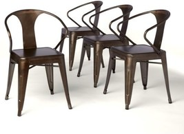 Set of 4 Vintage Style Metal Stackable Chairs ~ Industrial Rustic Bronze... - $251.14
