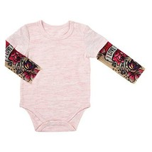 Stephan Baby Snapshirt-Style Diaper Cover with Tattoo Sleeves, Pink, 6-12 Months