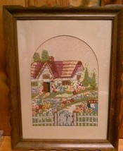 Vintage Garden Cottage Yarn Embroidery 18 x 14 Picture Framed with Glass  - $23.95