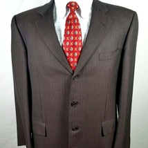 Hickey Freeman Mens Suit Coat Size 43 Regular Vintage Tailored Dark Brown - $22.93